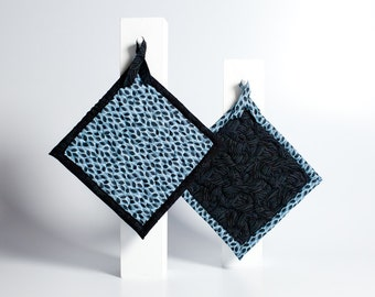 quilted kitchen pot holders - indigo blue leaves - ready to ship