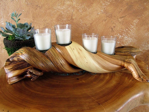 Handmade rustic votive candle holder wood by