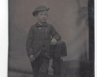 Tin Type photo Showing a Small Boy posing