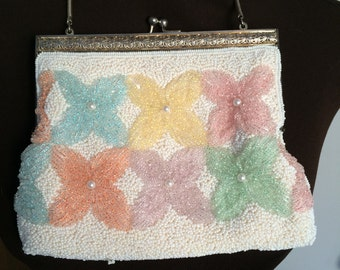 Vintage Beaded Purse, Pastel Floral Clutch, Formal Evening Bag for Wedding, Prom  or Holiday
