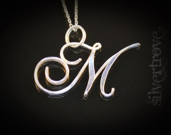 M Initial Necklace Sterling Silver Pendant Caligraphy Script With Chain and Optional Birthstone Charm Cursive Initial Necklace IN STOCK