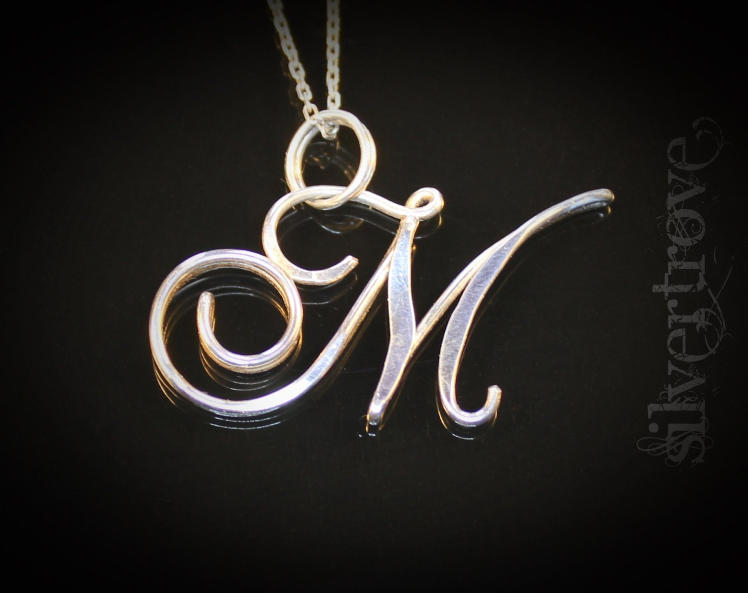 M initial necklace sterling silver pendant by silvertrove for Just my style personalized jewelry studio