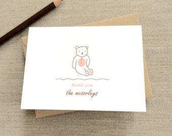personalized baby shower thank you cards + kraft envelopes (set of 8)