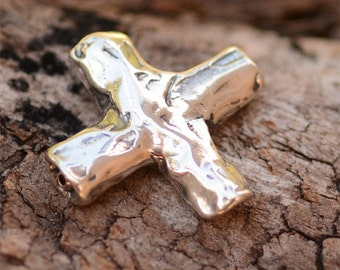 New Rustic Cross Bead in Sterling Silver