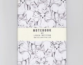 A6 Mini Notebook - Woodland - A hand drawn pattern of deers ,foxes, owls, rabbits and more