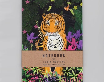 A6 Mini Notebook - Jungle Tiger - Illustrated cover with plain pages