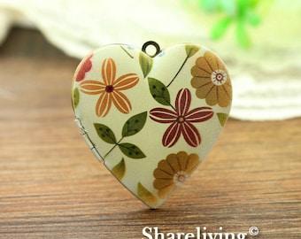 1pcs Vintage Flower Heart Locket Necklace, Antique Bronze Brass Locket, Photo Heart Locket Charm Pendant - HLK904A