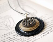 Vintage Button Necklace Black Beige Celluloid Art Deco Pendant Eco Friendly Jewelry, Silver Flower Women Accessories Spring Fashion