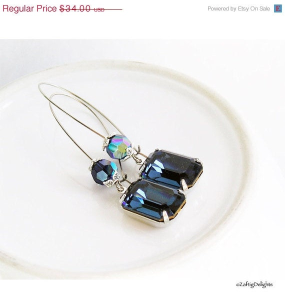 HOLIDAY SALE 35% OFF  - Rhinestone Earrings Sapphire Vintage Swarovski, Antique Silver Faceted Emerald Cut