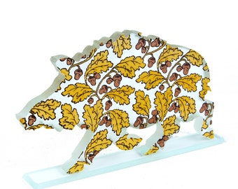 Acorns Wild Boar Print Glass Sculpture