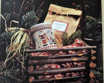 Vintage Counted Cross Stitch Pattern Merry Mug and Amaretto Cocoa Mix