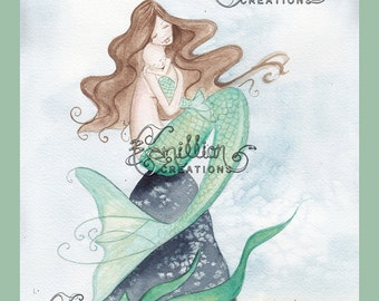 Cuddles Mermaid Print from Original Watercolor Painting by Camille Grimshaw