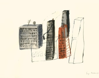 Sad Town - Original watercolour illustration 11.7 × 8.3 inches