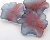 Flower beads, blue and red, center hole large matte glass vintage repro German 22mm, 3 pcs