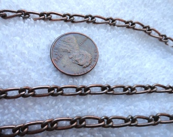 10 Feet of Vintage Steel Mother and Son Chain, 4mm x 8mm Link
