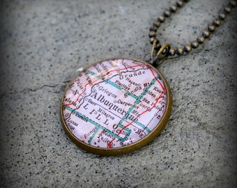 Albuquerque Map Necklace - New Mexico Map Jewelry - Charm Pendant