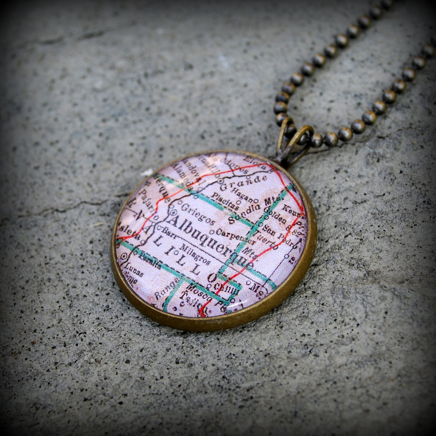 albuquerque map necklace new mexico map jewelry charm