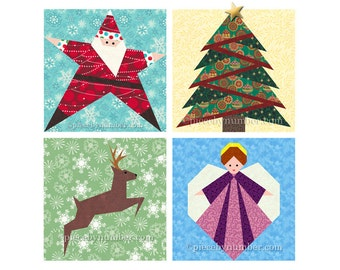 Christmas quilt pattern pack, paper piecing quilt patterns, PDF santa star reindeer pine tree angel holiday quilt patterns winter xmas