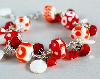 Be Mine Lampwork, Crystal and Sterling Bracelet - Red and White - Artisan Lampwork Bracelet