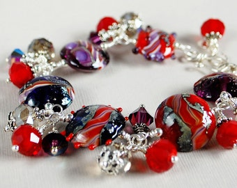 Sparkle Lampwork, Crystal, and Sterling Bracelet - Purple and Red Bracelet - Red Hat Society - Artisan Lampwork Bracelet