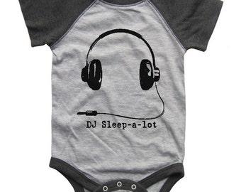 DJ Sleep a Lot BABY Bodysuit Raglan one piece shirt creeper Baseball jersey screenprint
