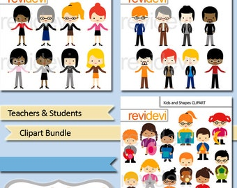 People clip art - Teachers and students clipart bundle - commercial use digital images - kids with shapes