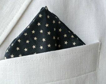 Navy Blue with Stars Pocket Square Patriotic Hand Rolled Men's Nautical Suit Handkerchief Gift for Him