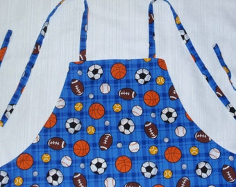 Older child size apron - sports - reversible