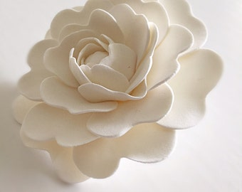Ivory Camellia Bridal Hair Clip Wedding Hair Flower Camellia Hair Fascinator Clay Flower