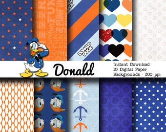 Donald Duck Inspired 12x12 Digital Paper Backgrounds for Digital Scrapbooking -INSTANT DOWNLOAD -