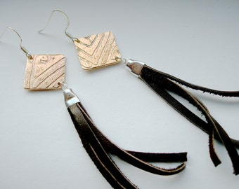 Square Etched Bronze- Leather Tassel Fringe Earrings in Chocolate Brown -  Medium Length