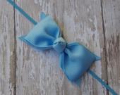 Boutique Light Blue Tuxedo Bow Skinny Elastic Headband Infant/Toddler Hair Bow Bowband Blue Baby Headband Blue Baby Bow