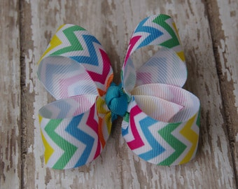 Chevron Brights Toddler Hair Bow 3 Inch Alligator Clip Baby Hairbow
