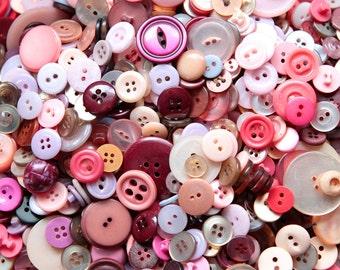 Buttons - Supplies - 100 Pink Buttons, Lavender Vintage Button Lot, Lilac Buttons, craft buttons, bulk buttons