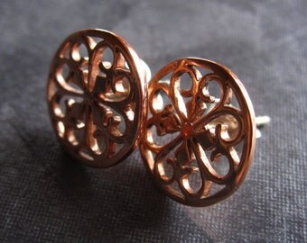 Love Mandala - Copper with Sterling silver earring posts - 13mm