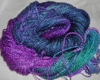 Handpainted Yarn  Rayon Boucle Yarn-250 yards  RHONDA