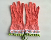 Designer Garden Gloves - As seen in Better Homes and Gardens DIY Magazine and Mother Earth Living Magazine - Flowers and Pom Pons