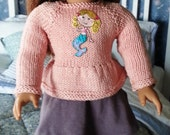 Hand Knit Light Pink Sweater with Mermaid Applique for the American Girl Doll   18 inch doll