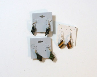 Three Pairs Of Earrings Made Of Wood