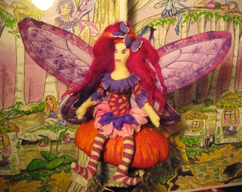 Funky Fairy with pink striped stockings Soft sculpture Cute Art Doll Made By Tessimal
