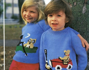 Vintage Childrens Sweater with Motif, Knitting Pattern, 1960/1970 (PDF) Pattern, King Cole 381