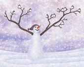 snowman joy with dark-eyed juncos - digital illustration art print 8X10 inches, lavender periwinkle violet white snow birds whimsical winter