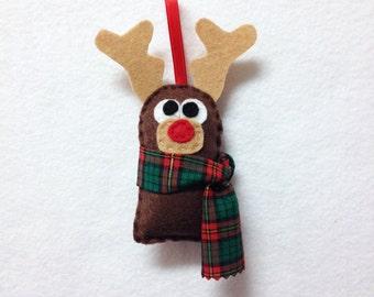 Ornament, Christmas Ornament, Christmas Decoration, Felt Animal, Reindeer, Kids Gift, Gift under 10, Stocking Stuffer, Woodland, Forest