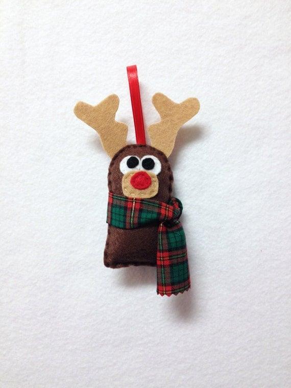Reindeer Ornament, Christmas Ornament, Randolph the Reindeer, Christmas Decoration, Made to Order, Felt Animal