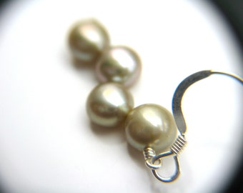 Yellow Green Bridesmaid Jewelry . Light Green Earrings . Pale Green Freshwater Pearl Dangle Earrings - Crescent Collection