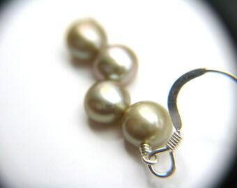 June Birthstone Jewelry . Light Green Earrings . Green Pearl Earrings . Pale Green Freshwater Pearl Dangle Earrings - Crescent Collection