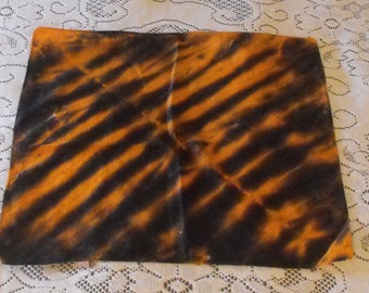 Tie Dye Handkerchief in Black and Orange Tiger Stripes