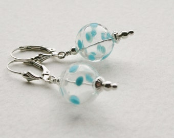 Sterling Silver Earrings 1950s Polka Dot Glass Globe Beads Hand Blown Pale Blue