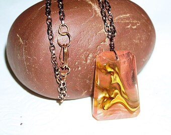 Ladies Necklace,Cherry Quartz Pendant, 18 inch Copper Necklace, Ladies Copper Chain , Pink and Yellow Quartz, 18 inch Ladies Chain
