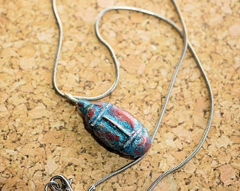 Scarab Necklace w Silver 17 inch Chain, Snake Chain w Polymer Clay Scarab Pendant, Silver Necklace
